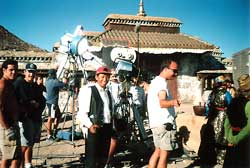 On the set for the movie Seven Years in Tibet