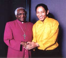 Nawang with Archbishop Desmond Tutu